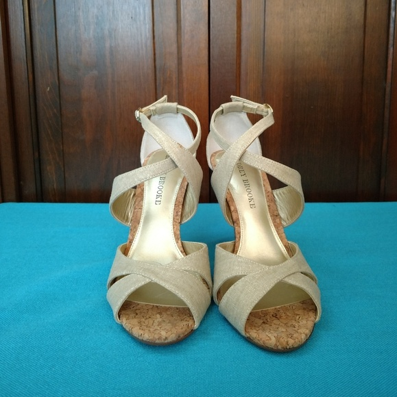 Audrey Brooke Shoes Shakira Natural Canvas Heeled Sandal Poshmark